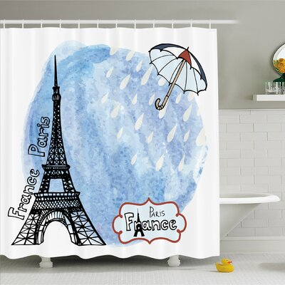 Home Surreal Eiffel Tower with Rain Splashes Paris Culture Landmark Shower Curtain Set Size: 84 H x 69 W