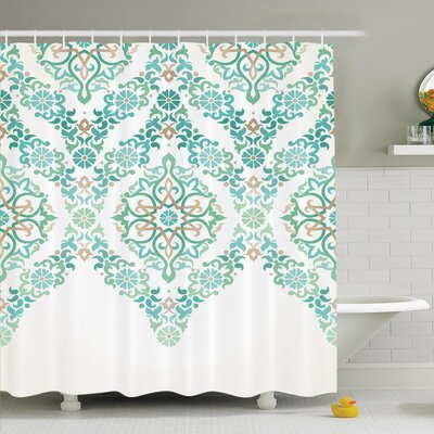 Traditional House Retro Middle Age Symmetrical Gothic Garland Forms in Pastel Print Shower Curtain Set Size: 84 H x 69 W