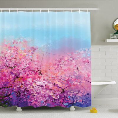 Watercolor Flower Home Sakura Blossom Floral Beauty with Sky Japanese Cherry Spring Theme Shower Curtain Set Size: 75 H x 69 W