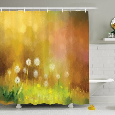 Watercolor Flower Home Dandelion Wild Nature Pastel Grass Spring Floral Art Theme Shower Curtain Set Size: 70 H x 69 W