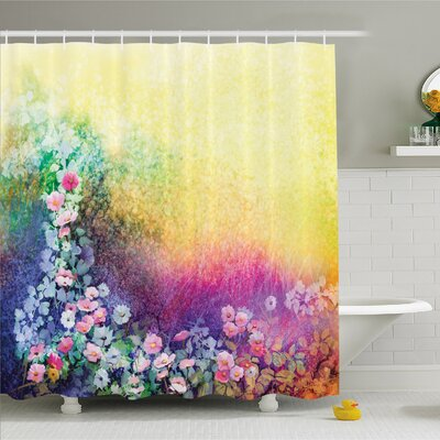 Watercolor Flower Home Ivy Floral Beauty in Spring Soft Natural Paradise Print Shower Curtain Set Size: 75 H x 69 W