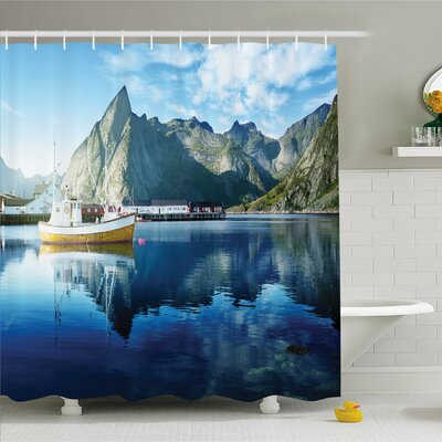 Farm House, Sunset in Norwegian Lake by Fjords Formation Yacht Fishing Arctic Harbor Island Shower Curtain Set Size: 70 H x 69 W
