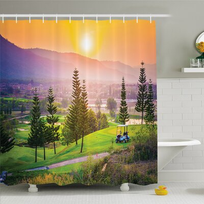 Nash Vibrant Golf Resort Park in Spring Season with Trees Sunset Hills and Valley Shower Curtain Set Size: 75 H x 69 W