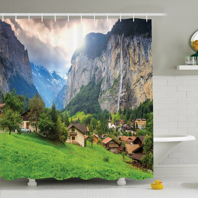 Nash Town by the Rocks on Waterfall Background European Peaks Sunlight the Alps Shower Curtain Set Size: 75 H x 69 W