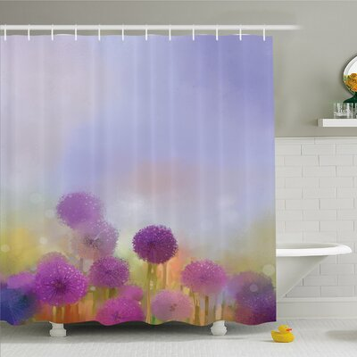 Watercolor Flower Home Onion in Meadow Pastoral Scenery at Springtime Illustration Shower Curtain Set Size: 75 H x 69 W