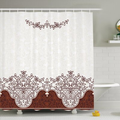 Traditional House Ornate Old Iranian Classical Frieze Figure with Curved Flowers Shower Curtain Set Size: 70 H x 69 W
