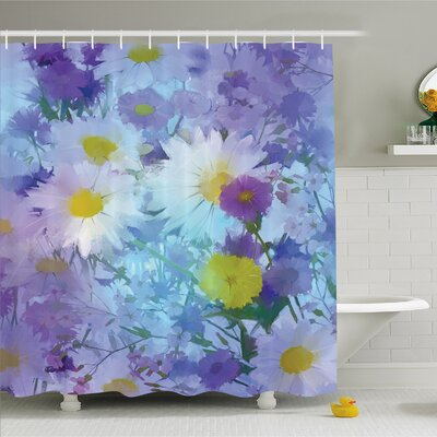 Watercolor Flower Home Vintage Flower in Pastel Color Fragrance Natural Bloom Beauty Print Shower Curtain Set Size: 84 H x 69 W