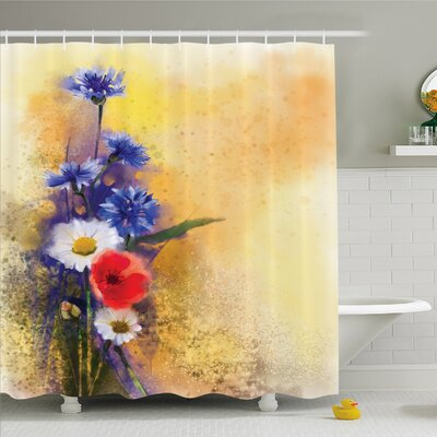 Watercolor Flower Home Poppy Flowers Cornflower Pastel Chamomile Petal Beauty Print Shower Curtain Set Size: 70 H x 69 W