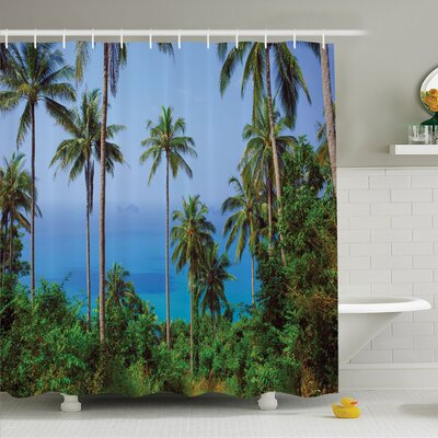 Palm Tree Ocean Scene from Jungle Tropical Beauty Natural Paradise in Nature Theme Shower Curtain Set Size: 70 H x 69 W