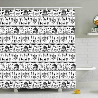 Traditional House Ancient Warli Art with Tribal Native American Icon in Rural Folk Shower Curtain Set Size: 75 H x 69 W