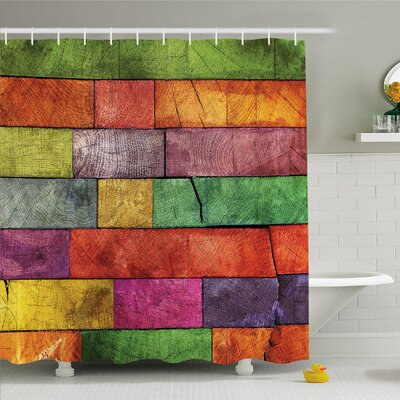 Rustic Home Vivid Colored Several Equally Pieced Timber Construction Vertical Column Image Shower Curtain Set Size: 75 H x 69 W