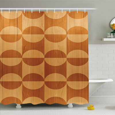 Rustic Home Abstract Oak Plank Pattern with Tiled Bound Lines and Oval Curves Image Shower Curtain Set Size: 75 H x 69 W