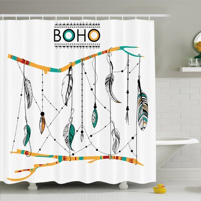 Native American Classic Retro Feathers Hippie Old Culture Ritual Artwork Shower Curtain Set Size: 75 H x 69 W