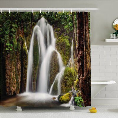 Scenery House Epic Waterfall down the Cliffs Deep in Forest Natural Wonders Picture Shower Curtain Set Size: 75 H x 69 W
