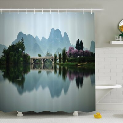 Nash Japanese National Park Bridge Reflections of the Mount on the Lake Scenery Shower Curtain Set Size: 84 H x 69 W
