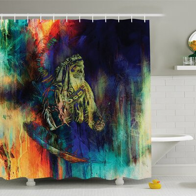 Grungy Futuristic Design of Native American Foreman Bull with Motley Effects Shower Curtain Set Size: 70 H x 69 W