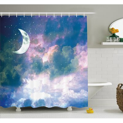 Crescent Moon Sky at Starry Cloudspace Celestial Solar Orbit Double Exposure Art Shower Curtain Set Size: 75 H x 69 W