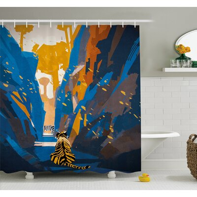 House African Tiger in City Streets Narrow Walls Digital Jungle Savannah Shower Curtain Set Size: 84 H x 69 W