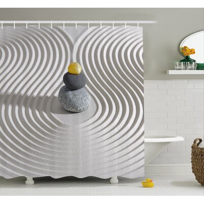 Spa Three Hot Massage Stones in the Middle of the Sand Shaped Waves Shower Curtain Set Size: 70 H x 69 W