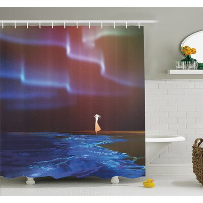 Beach Psychedelic Northern Lights Sky Star Picture Print Shower Curtain Set Size: 84 H x 69 W