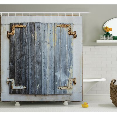 Antique Wooden Window Shower Curtain Set Size: 70 H x 69 W
