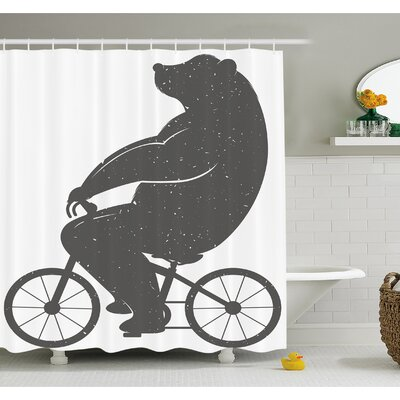 Bear on a Bike Cute Humor Parody Stylized Modern Funny Cycling Hipster Artwork Shower Curtain Set Size: 75 H x 69 W