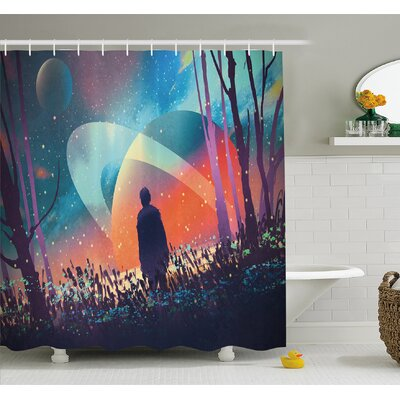 Fantasy Art House Alone under Vibrant Reflections of Galaxy Planets Space Cosmos Art Shower Curtain Set Size: 70 H x 69 W