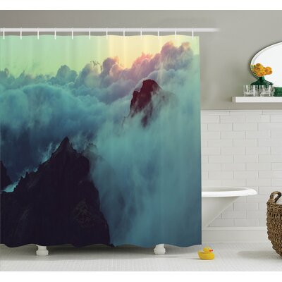 Nature Sunset View on Hills Shower Curtain Set Size: 84
