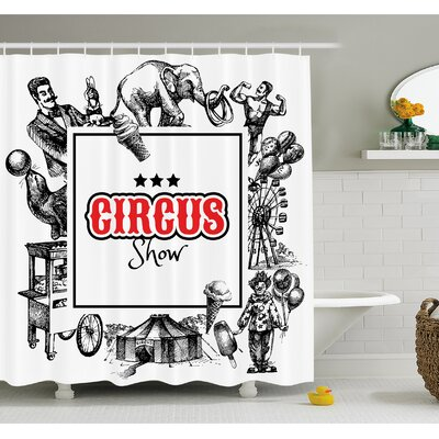 Circus Show Logo with Magician Elephant Creepy Tricks Performance Sketchy Art Shower Curtain Set Size: 84 H x 69 W