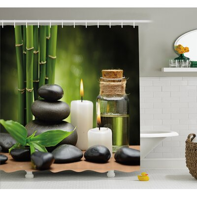 Spa Hot Massage Rocks Combined with Candles and Scents Landscape of Bamboo Shower Curtain Set Size: 70 H x 69 W