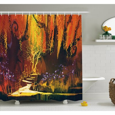 Enchanted World Imaginary Forest with Lights Image Scenery Print Shower Curtain Set Size: 84 H x 69 W