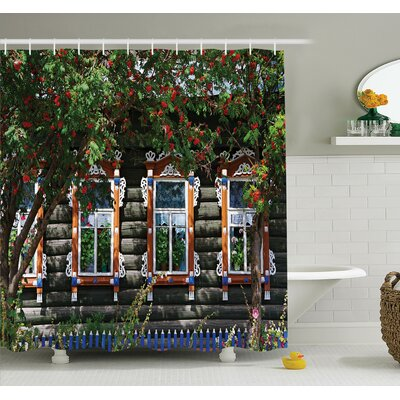 Ornate Wooden Shutters Shower Curtain Set Size: 70 H x 69 W