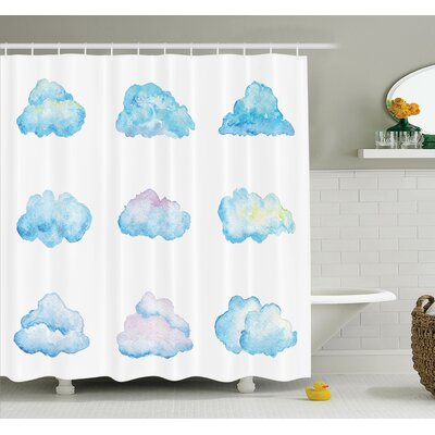 Gretna Cartoon Fluffy Clouds Shower Curtain Set Size: 84 H x 69 W