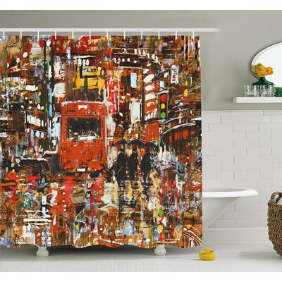Urban Abstract Picture with Tramway and Human Crowd Cityscape Traffic Lights Shower Curtain Set Size: 75 H x 69 W