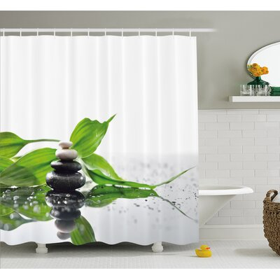 Spa Raindrops on the Leaves Side Hot Massage Stones Shower Curtain Set Size: 70 H x 69 W