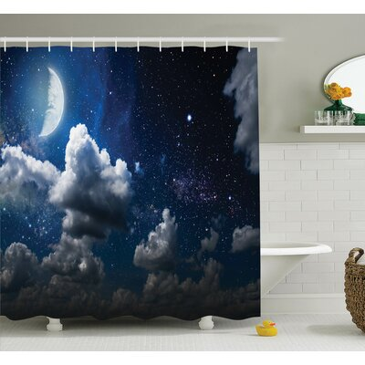 Moon Clouds Stars Night Shower Curtain Set Size: 75 H x 69 W