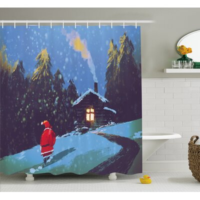 Christmas Santa Claus Walking to the Mountain House Surrounded by Pines Shower Curtain Set Size: 75 H x 69 W