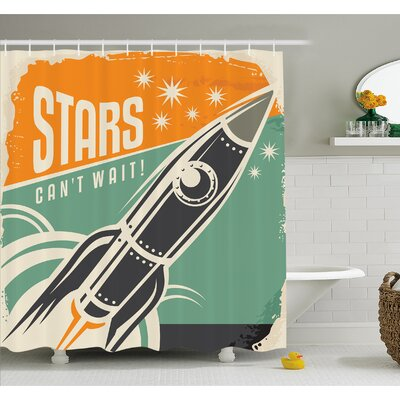 Stars Cant Wait Retro Advertisement with Rocket Figure Launch Your Business Image Shower Curtain Set Size: 70 H x 69 W