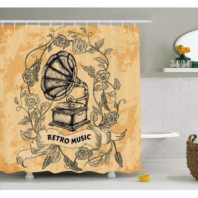 Nostalgic Gramophone Vinyl with Rose Petals Leaves with Retro Music Banner Shower Curtain Set Size: 84 H x 69 W