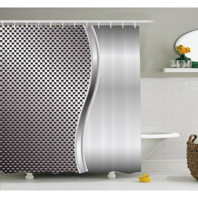 Metal Background with Square Shaped Grid Speaker Featured Industrial Iron Design Shower Curtain Set Size: 70 H x 69 W