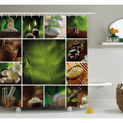 Spa Collage of Candles Stones Herbal Salts Towels and Botanic Plants Print Shower Curtain Set Size: 75 H x 69 W