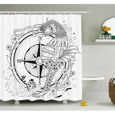 Compass Seahorse Shower Curtain Set Size: 84 H x 69 W