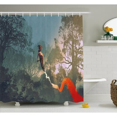 Fantasy Art House Cyclist Riding Bike with Track in Air Foggy Park Extreme Sports Shower Curtain Set Size: 84 H x 69 W