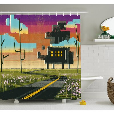 Trippy Futuristic Landscape Collage in Paint Effect Apartment in Cloud Shower Curtain Set Size: 70 H x 69 W