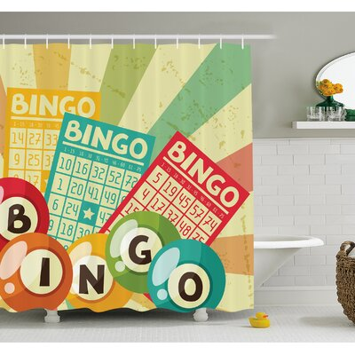 Bingo Game with Ball and Cards Pop Art Stylized Lottery Hobby Celebration Theme Shower Curtain Set Size: 75 H x 69 W