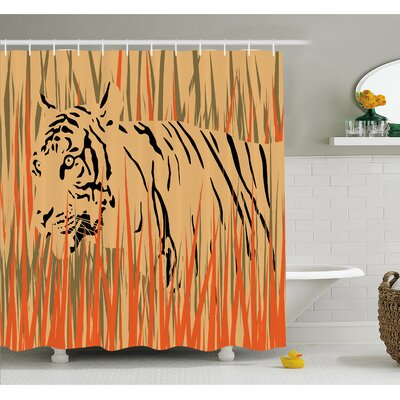 Wildlife Tiger in the Bushes Camouflage Carnivore Predator Feline Africa Animal Art Shower Curtain Set Size: 70 H x 69 W