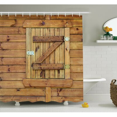 Grunge Wooden Shutters Shower Curtain Set Size: 70 H x 69 W