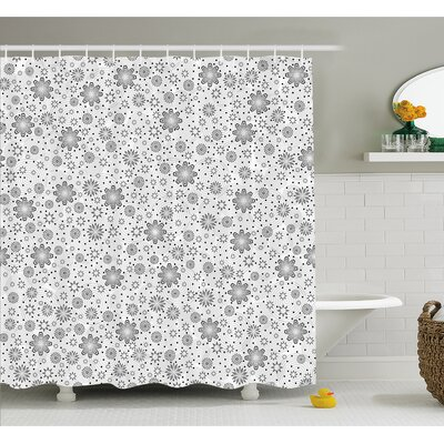 Mix Florals with Rotary Round Rings and Dot Spots on the Backdrop Simplistic Blossom Shower Curtain Set Size: 75
