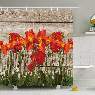 Rustic Home Poppy Petals Field Meadow Summer Sun Plant Floral Shower Curtain Set Size: 75 H x 69 W