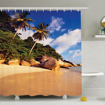 Palm Tree Tropical Beach Serenity in Nature Exotic Fruit Coconut Rock Seascape Print Shower Curtain Set Size: 75 H x 69 W